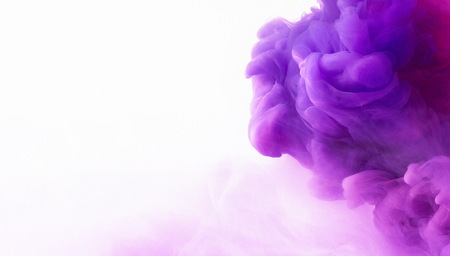 Purple and pink smoke cloud on white background, panorama with free space Foto de archivo
