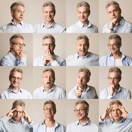 Sammlung älterer Geschäftsmann, die verschiedene Emotionen auf grauem Hintergrund ausdrücken Standard-Bild
