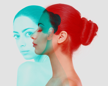 Double color exposure effect of beautiful woman, profile and closeup portrait