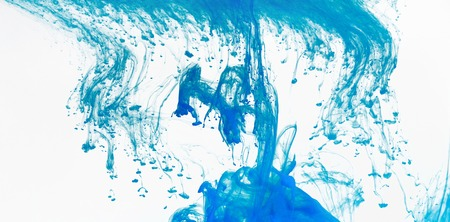 Blue abstract stains on white background, copy space, panorama