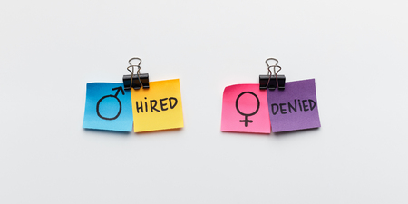Man is hired, woman is denied. Concept of discrimination between men and women in employment, panorama
