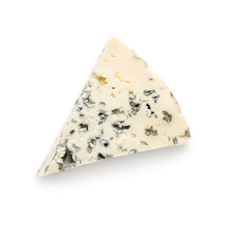 A wedge of full fat soft blue cheese on white background, top view 写真素材 - 119886644