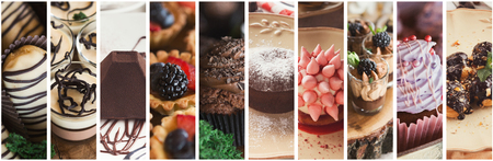 Confectionery. Collage of various candies and chocolate desserts
