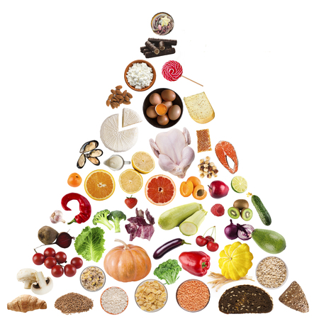 Food pyramid on white background. Dietology and nutrition concept Banque d'images