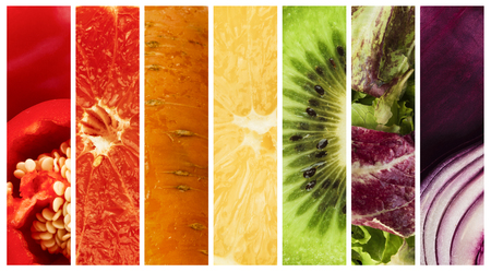 Summer food collage. Collection of ripe colorful fruits and vegetables, panorama Banco de Imagens