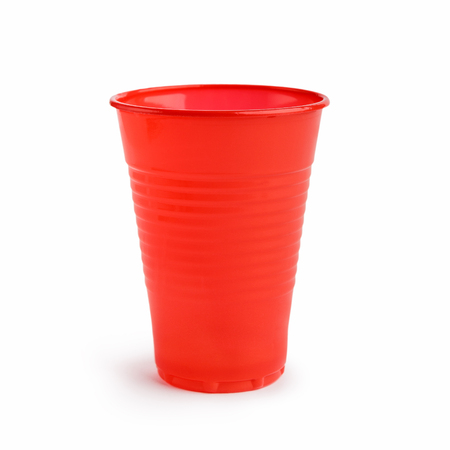 Empty red plastic cup isolated on white background
