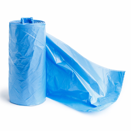 Roll of blue plastic garbage bags isolated on white background