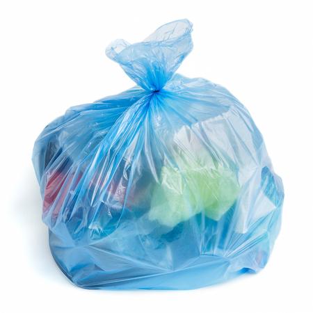 Plastic garbage bag full of trash on white background, isolated Stock Photo