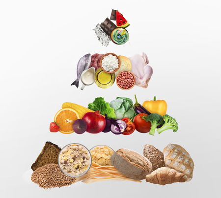 Food pyramid isolated on white background. Individual diet concept