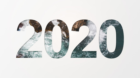 2020 year number over sea storm background