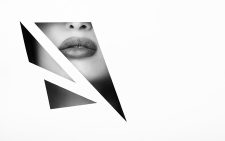 Female Lips In Black And White Geometry Frame With Copy Space