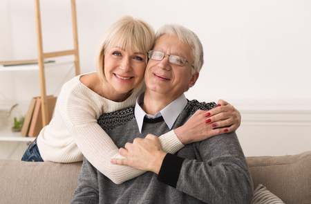 Love Lives Forever! Senior Couple Hugging And Spending Time Together At Home