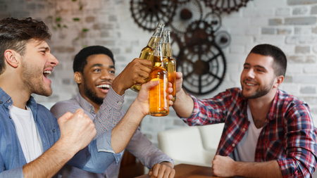 Celebrate Meeting In Bar. Friends Clinking Beer Bottles, Panorama