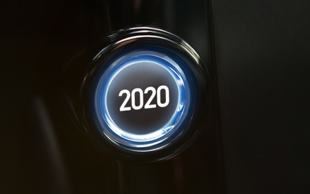 Button with the text 2020. 2020 year is coming concept