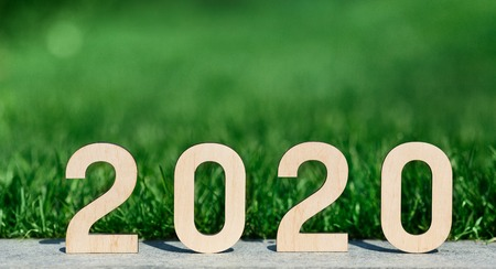 2020 year concept. Wooden numbers sunbathing outdoor, blurred green grass background, panorama, copy space 版權商用圖片