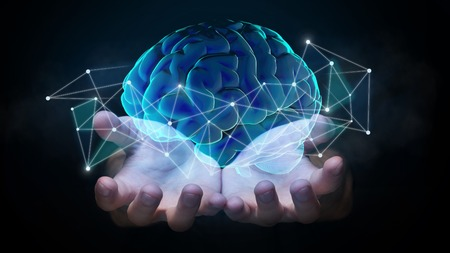 Hands holding hologram of brain with network connections, innovative technology in science and communication concept