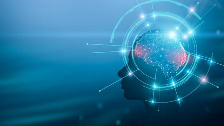 Concetto di intelligenza artificiale. Sagoma umana con processo di lavoro del cervello e della mente, panorama con spazio vuoto