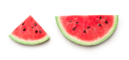 Semicircle and triangle shaped ripe watermelon slices isolated on white background, panorama Foto de archivo - 123770663