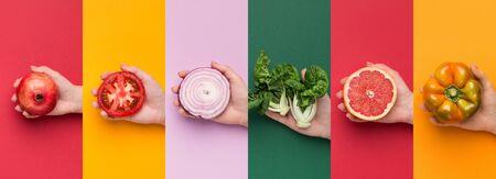 Succoso collage. Diversi colori collage di frutta e verdura, panorama