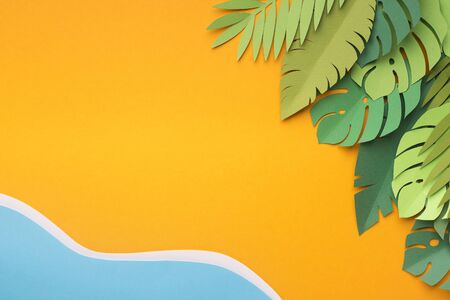 Summer creative wallpaper with tropical resort near the water without people, paper photo, free space