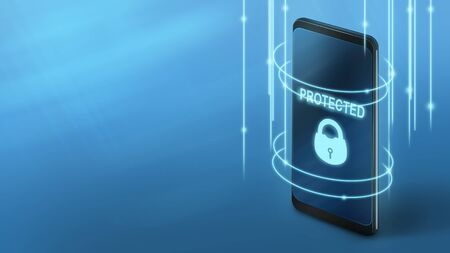 Save your device. Protected phone with neon lock on screen, panorama, copy space