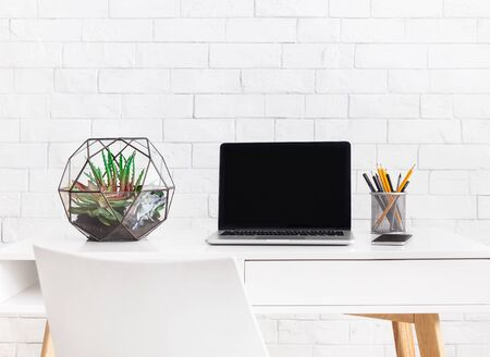 Modern home working place with laptop, and florarium vase with home plants at white brick wall background. Scandinavian style concept Reklamní fotografie