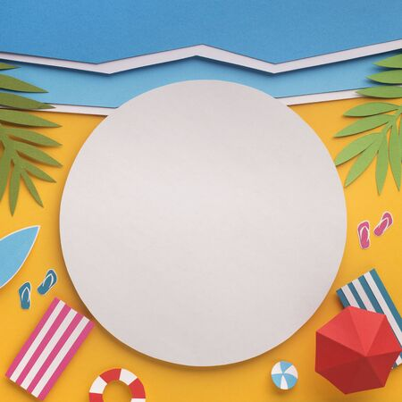 Summer background with white blank place for logo or cutaway, copy spcae, paper photo Stok Fotoğraf
