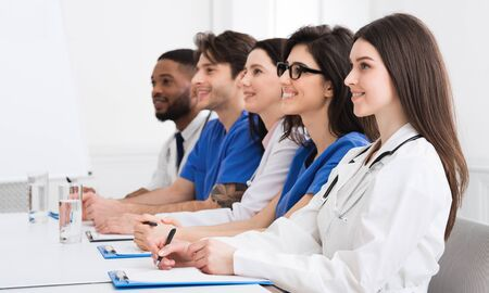 Medical Lecture. Interns And Doctors Listening Seminar In Hospital