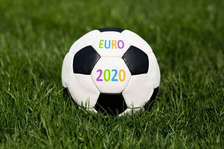Close up of soccer ball with euro 2020 championship concept, panorama, free space