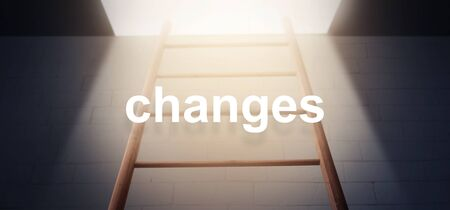 Word Changes on Ladder Background with Light Upwards, Way to Success Stock Photo