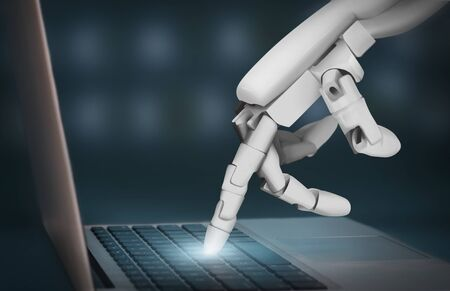 Chatbot and robo advisor. Futuristic robot hand typing on laptop keyboard, pressing glowing button