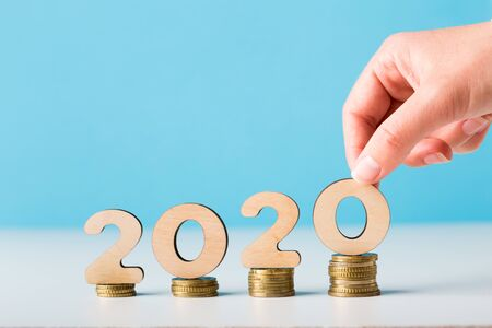Financial budget planning for 2020 new year with growth of income, copy space Banco de Imagens