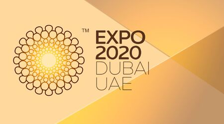 Kharkiv, Ukraine - July 24, 2019: Dubai EXPO 2020 official logo on orange. Expo 2020 is a World Expo to be hosted by Dubai in the United Arab Emirates Editorial