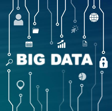 Big data-technologie en internet concept op blauwe achtergrond Stockfoto