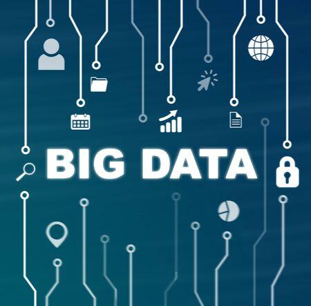 La tecnología de datos grandes y el concepto de Internet sobre fondo azul. Foto de archivo