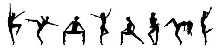 Collage Of Modern Ballet Poses. Black Silhouettes Of a Dancer Isolated On White Background, Panorama 写真素材
