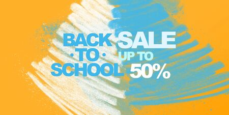 Big sale 50% for school supplies on paper  with white and blue smears, panorama