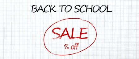 Sale promo poster. Back to school handwriting text with discount in round, panorama, free space for your per cent discount