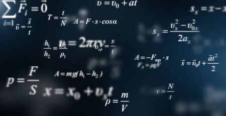 Mathematics background with scientific formulas and calculations, panorama
