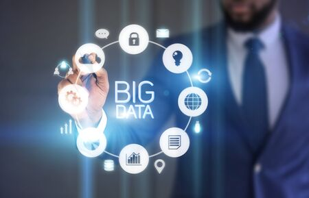 Businessman Choosing cloud service for saving big data information