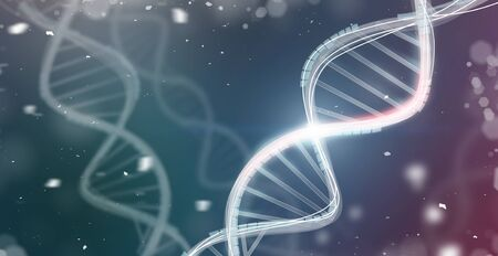 Dna helix. Genetics background with rendered microelements, panorama