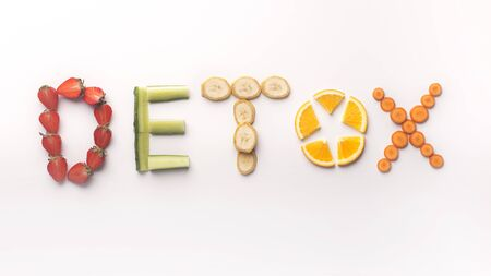 Detox creative concept. Colored Text of fresh fruits and vegetables on white background, panorama