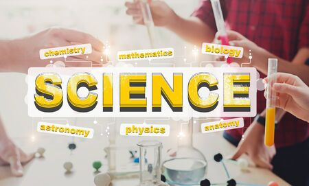 Science for children. Kids learning chemistry, school laboratory experiment background