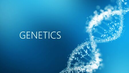 Laboratory background. Word Genetics with DNA helix on blue scientific backdrop, panorama