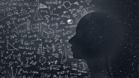 Concept de sujets scientifiques et éducatifs. Silhouette féminine avec formules physico-mathématiques et fond d'univers, panorama, espace vide