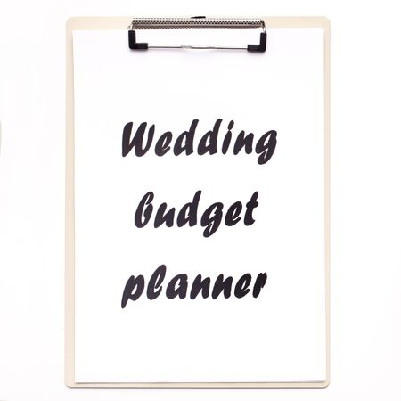 Wedding budget planner with black text on white background