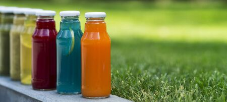 Set of detox cocktails in glass bottles in summer park outdoor, panorama, copy space
