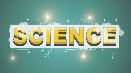Word Science with glowing stars on green background, panorama
