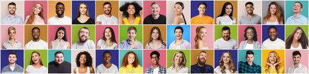 Collage of smiling and happy multiethnic people on different backgrounds, panorama