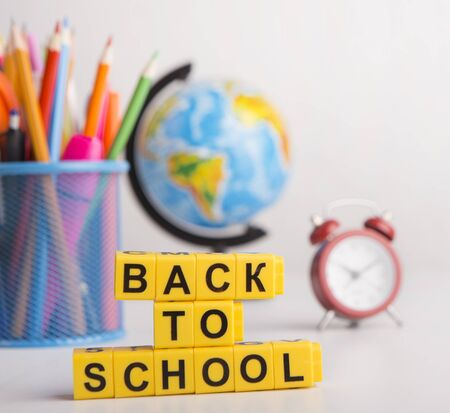 Close up of back to school concept on background with office stationery Stock fotó